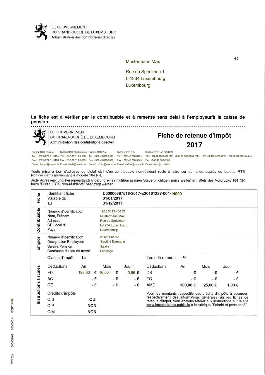 Non Reception Perte Ou Modification De La Fiche De Retenue D Impot